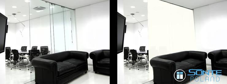 Inteligentna folia okienna SONTE zastosowana w sali konferencyjnej: styl , w kategorii  zaprojektowany przez Inteligentna Folia na przeszklenia SONTE - SONTE Poland Sp. z o.o.