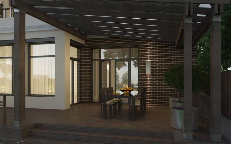 Крытая часть террасы с летней обеденной зоной: Tерраса в . Автор – studio forma
