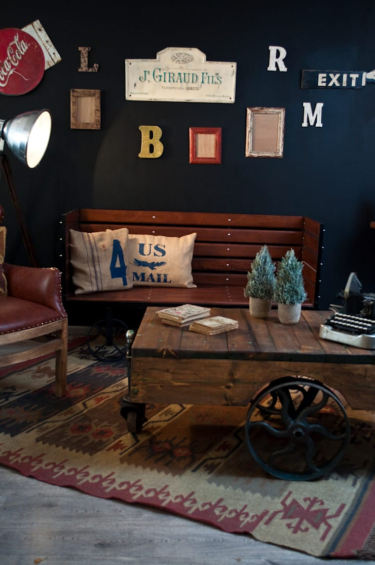 Sala estilo vintage-industrial: Hogar de estilo  por Noelia Ünik Designs