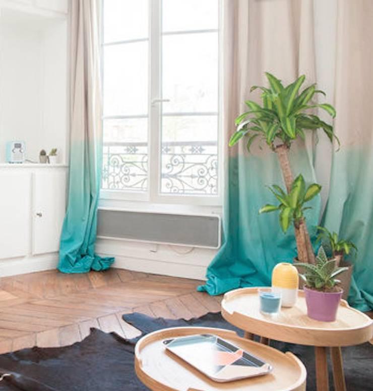 Rideaux tie and dye: Salon de style de style eclectique par Sandra Dages