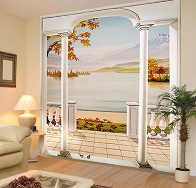 Papier peint panoramique vue sur un lac en automne.: Murs & Sols de style  par Belmon Déco