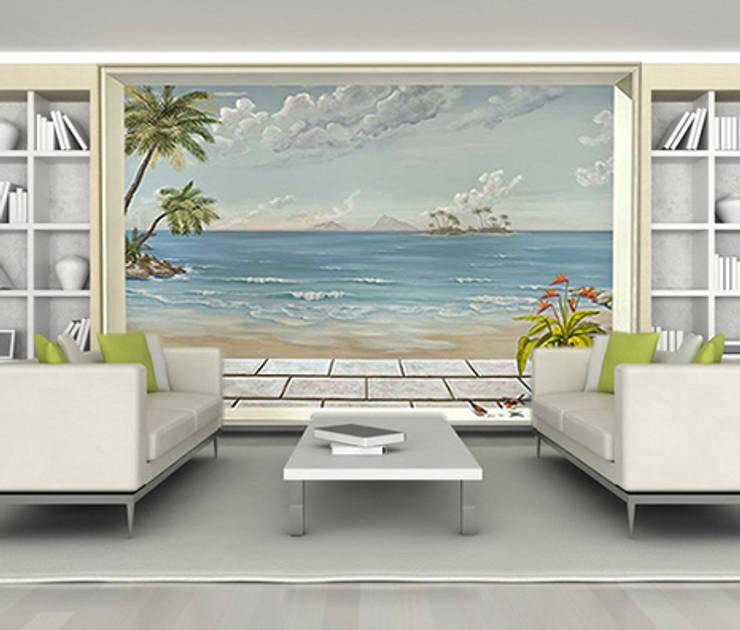 Poster géant trompe l'oeil vue sur mer tropicale.: Murs & Sols de style  par Belmon Déco