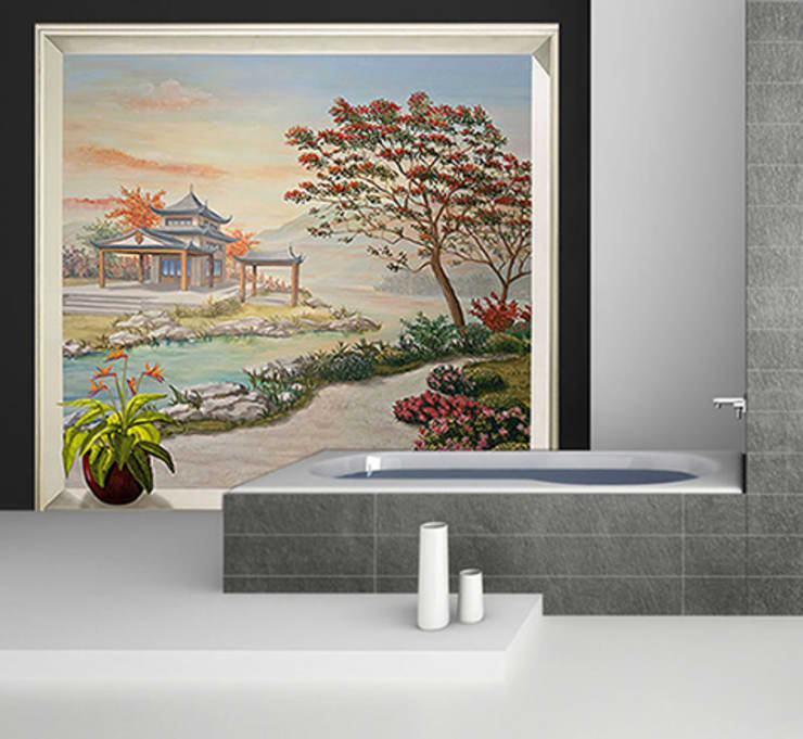 Décor mural zen  jardin asiatique: Murs & Sols de style  par Belmon Déco