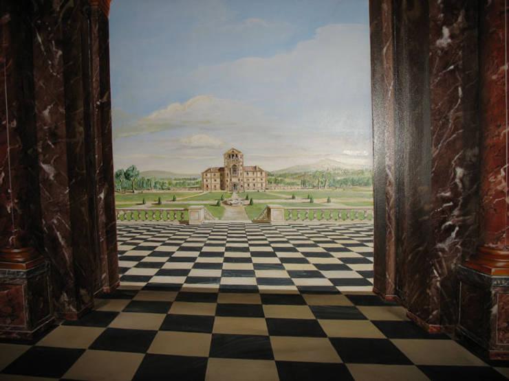 Chateau peint en trompe-l'oeil pour décor intérieur :  de style  par THIERRY HERR