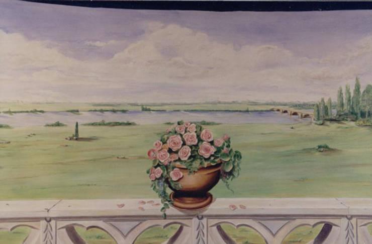 Détail du trompe-l'oeil peint sur toile marouflée:  de style  par THIERRY HERR