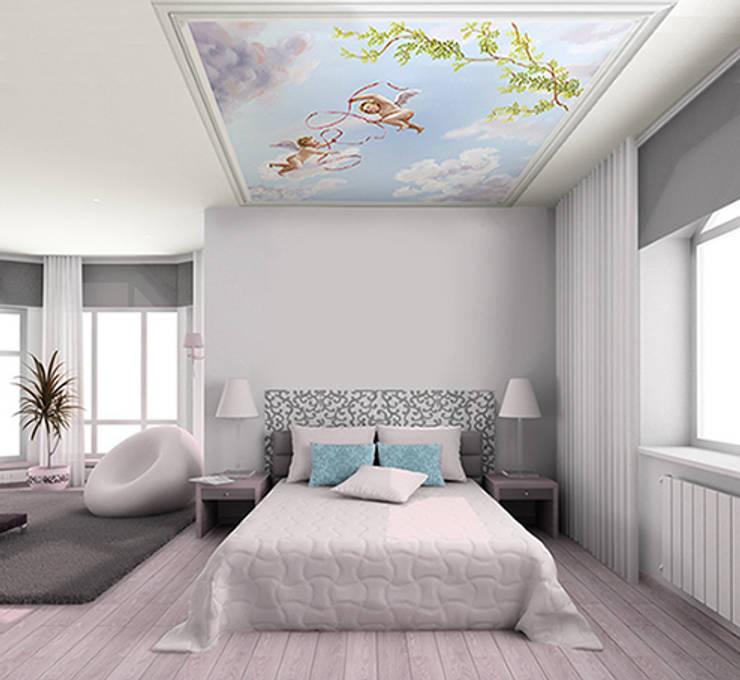 Papier peint pour plafond ciel et angelots: Murs & Sols de style  par Belmon Déco