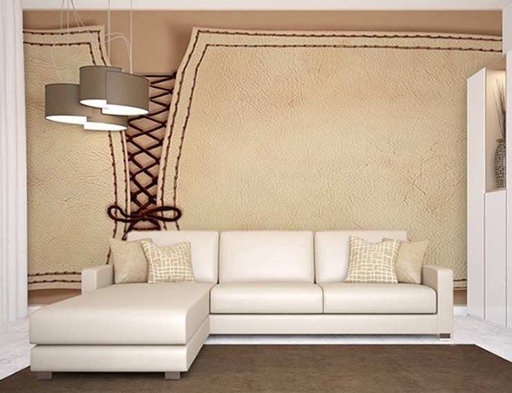Décor mural design, effet de relief et faux cuir : Murs & Sols de style  par Belmon Déco