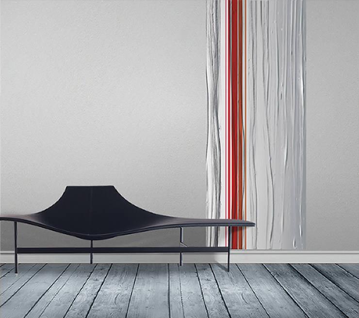 Papier peint lé unique design , rayures et coulures: Murs & Sols de style  par Belmon Déco