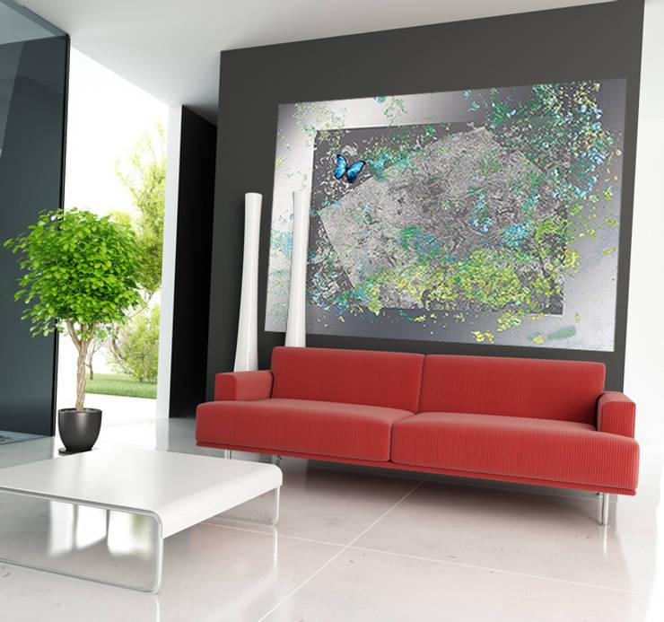 Poster géant effet métal en trompe l'oeil: Murs & Sols de style  par Belmon Déco