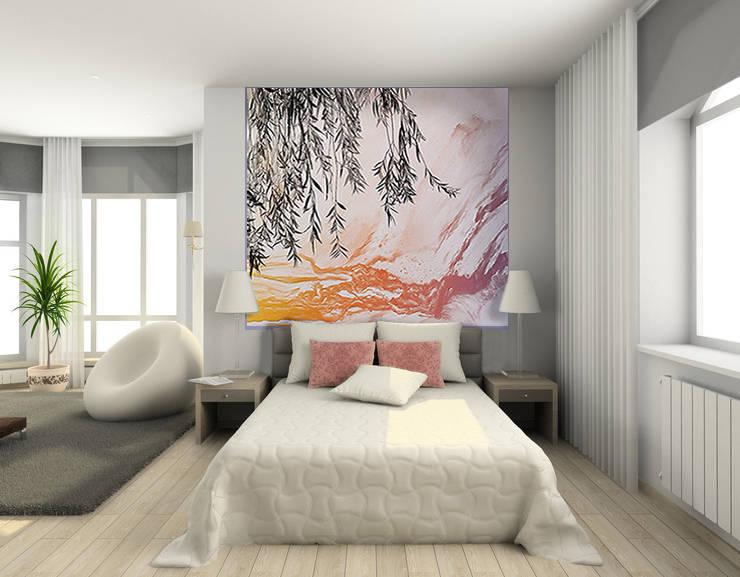 Décor mural abstrait en tête de lit: Murs & Sols de style  par Belmon Déco