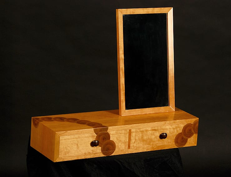 Cherry wall hanging mirror unit with Laburnum oysters:   by Simon Harrison Furniture