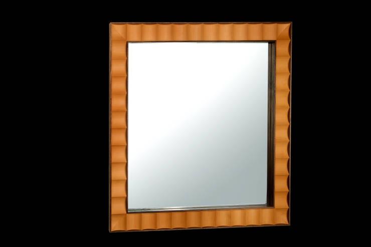 Walnut and boxwood mirror:   by Simon Harrison Furniture