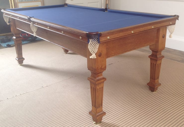 Restored antique snooker dining table:  Dining room by Brown's Antiques Billiards and Interiors