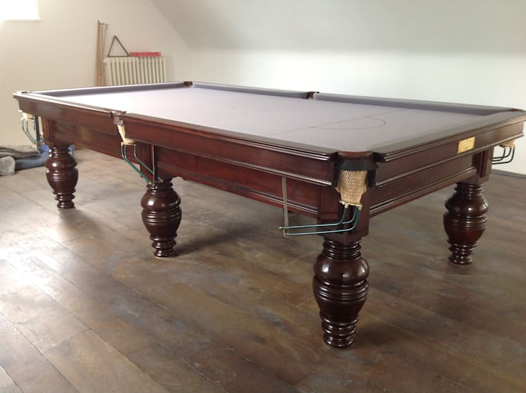 9ft Antique snooker table:  Interior landscaping by Brown's Antiques Billiards and Interiors