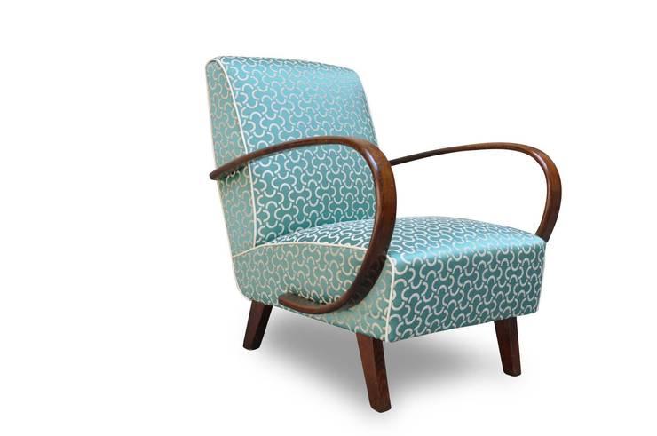 Poltrone Art Deco restaurate: Soggiorno in stile  di Italian Vintage Sofa