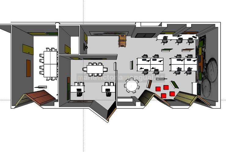 Planta con distribución del proyecto: Oficinas y Tiendas de estilo  de MUMARQ ARQUITECTURA E INTERIORISMO