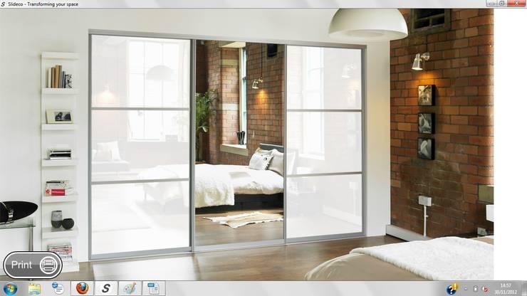 Mirror Sliding Doors:  Bedroom by Wardrobe Design Online