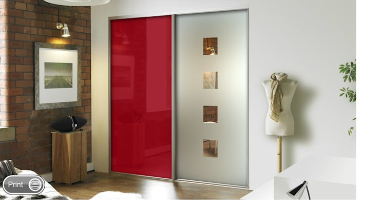 REd Sliding Doors:  Bedroom by Wardrobe Design Online