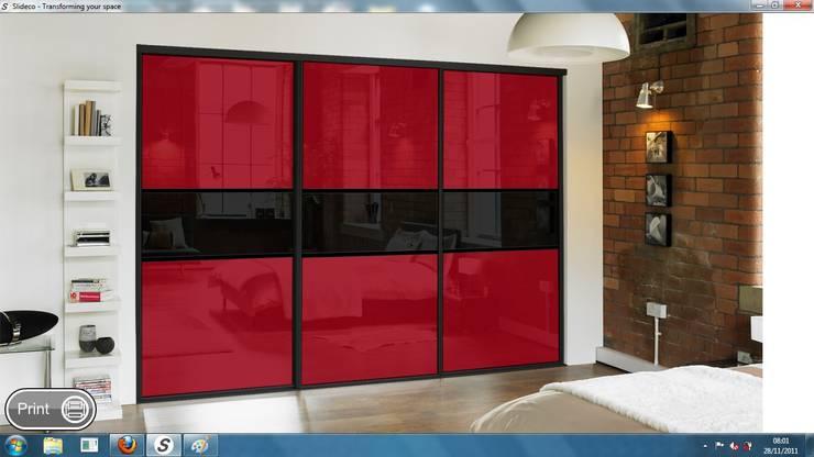 REd Sliding Doors:  Bedroom by Wardrobe Design Online