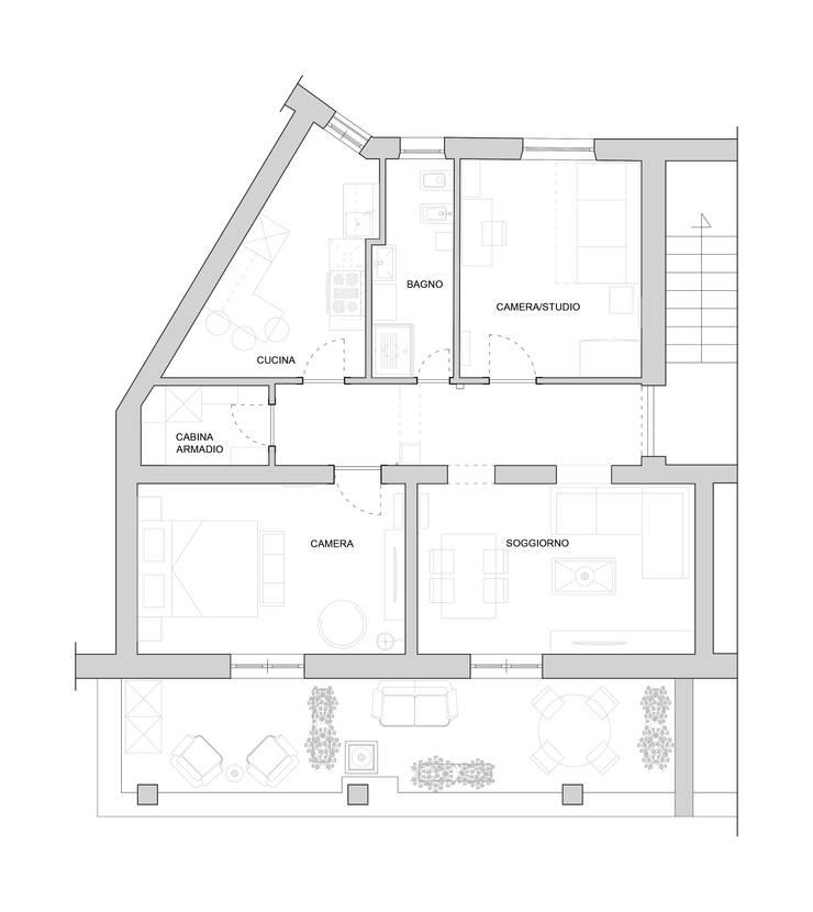 Planimetria dell'appartamento:  in stile  di EMC2Architetti