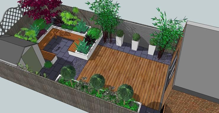 Contemporary design for small back garden:  Garden by Bea Ray Garden Design Ltd