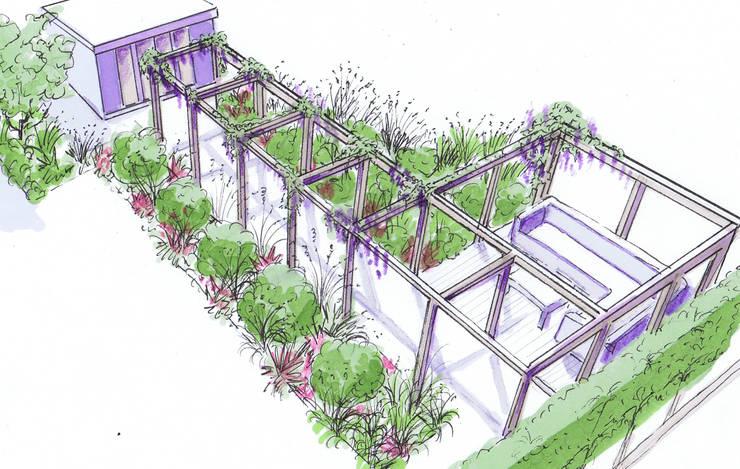 Pergola, deck and garden studio:  Garden by Bea Ray Garden Design Ltd