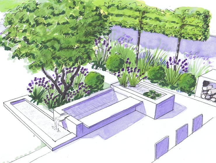 Water feature by the dining area:  Garden by Bea Ray Garden Design Ltd
