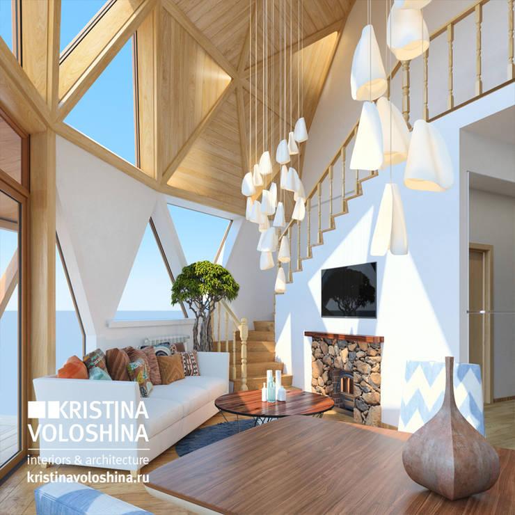 современный  интерьер  двухуровневой  квартиры: Гостиная в . Автор – kristinavoloshina,