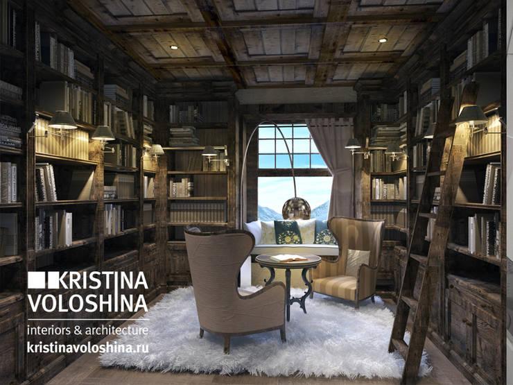 Библиотека в рустикальном стиле: Рабочие кабинеты в . Автор – kristinavoloshina, Рустикальный