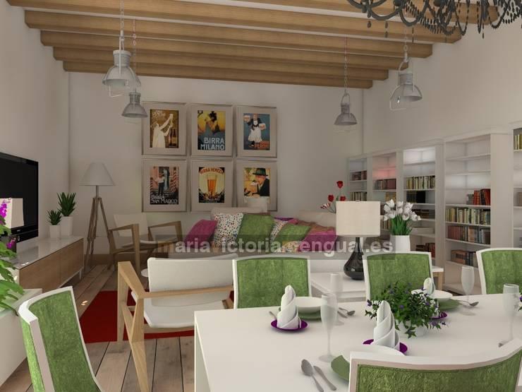 Zona de comedor y televisión.: Salones de estilo  de MUMARQ ARQUITECTURA E INTERIORISMO