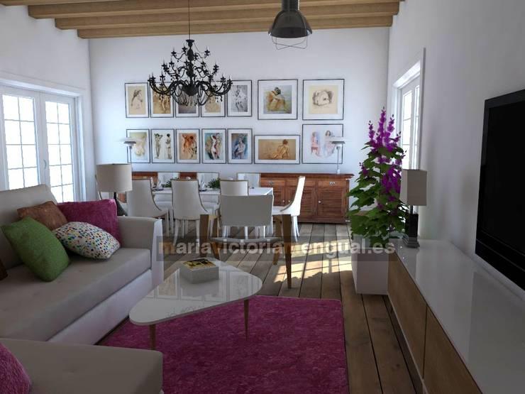 Zona de televisión y comedor.: Salones de estilo  de MUMARQ ARQUITECTURA E INTERIORISMO