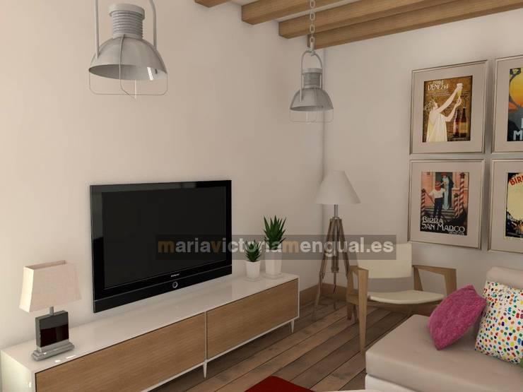 Zona de televisión.: Salones de estilo  de MUMARQ ARQUITECTURA E INTERIORISMO