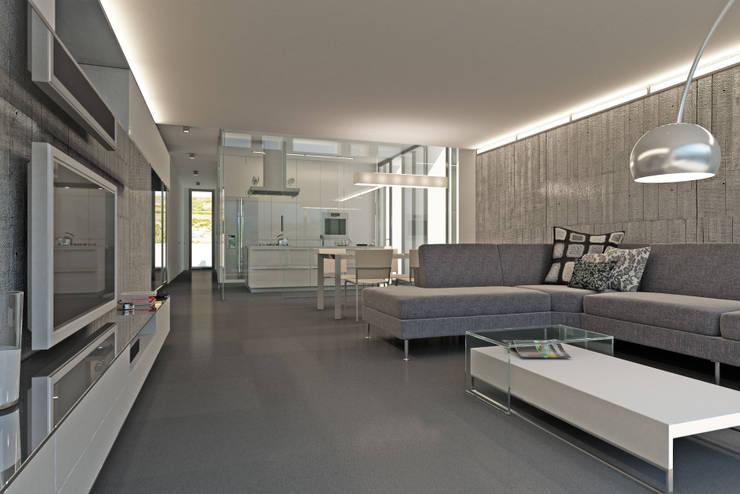 Salón: Casas de estilo  de RUBÉN MUEDRA ESTUDIO DE ARQUITECTURA