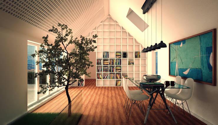 Vista prospettica del soggiorno:  in stile  di 3DIAMONDS, Moderno