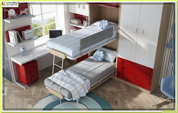 Recámaras de estilo  por Muebles Parchis. Dormitorios Juveniles.