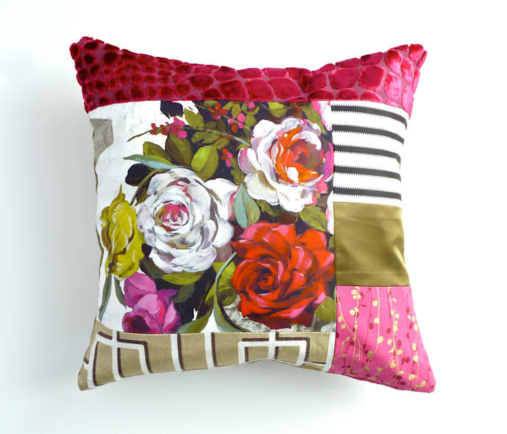 Rose luxury patchwork cushion:  Living room by Suzy Newton Ltd.