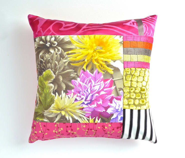 Mallory luxury patchwork cushion:  Living room by Suzy Newton Ltd.