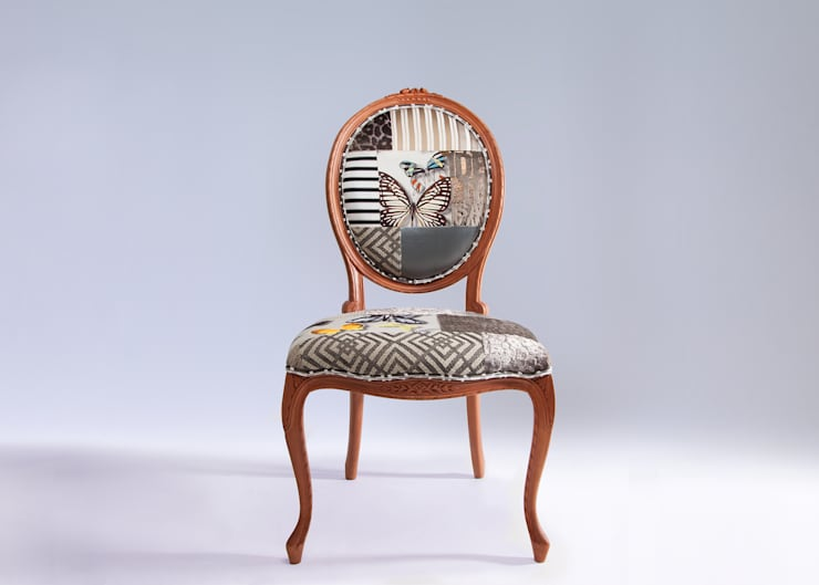 Oval backed luxury patchwork dining chair in neutrals:  Dining room by Suzy Newton Ltd.