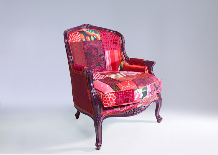 Louis luxury patchwork tub chair:  Living room by Suzy Newton Ltd.