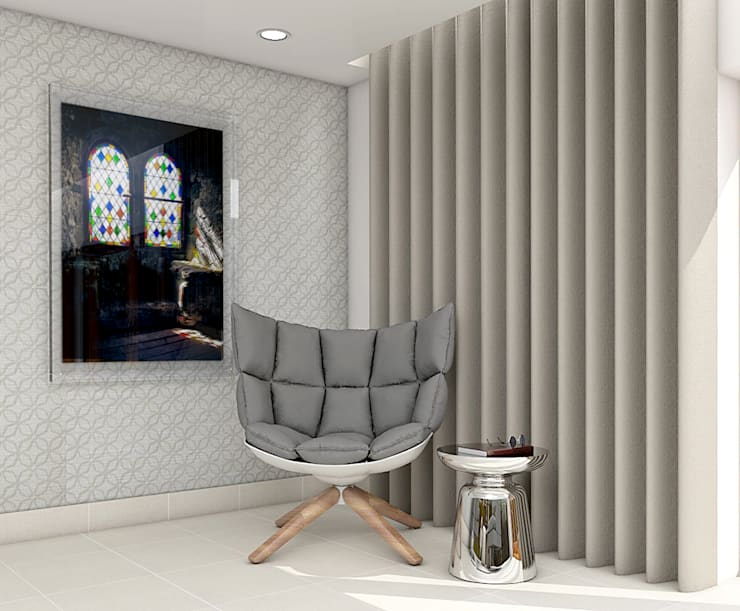 B&B Italia armchair 3d visual:  Living room by Outsourcing Interior Design
