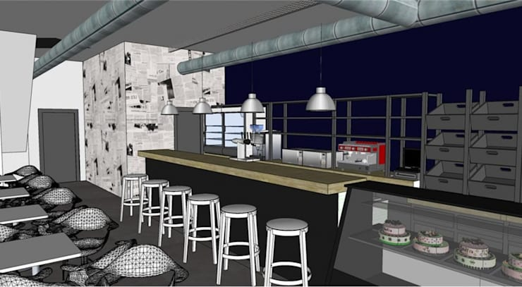 PROYECTO CAFETERIA EN CAMPOHERMOSO: Locales gastronómicos de estilo  de INTA3D ARQUITECTURA S.L.P.