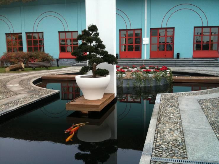 Vasca d'acqua con ecofiltraggio: Complessi per uffici in stile  di Locus Pocus Studio, Asiatico