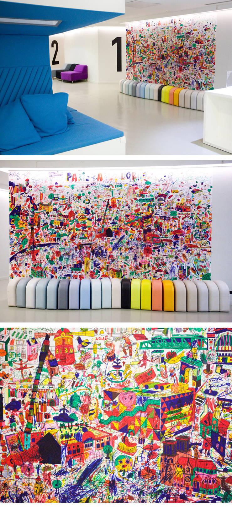 Grande fresque de Paris - Centre Pompidou:  de style  par Omy