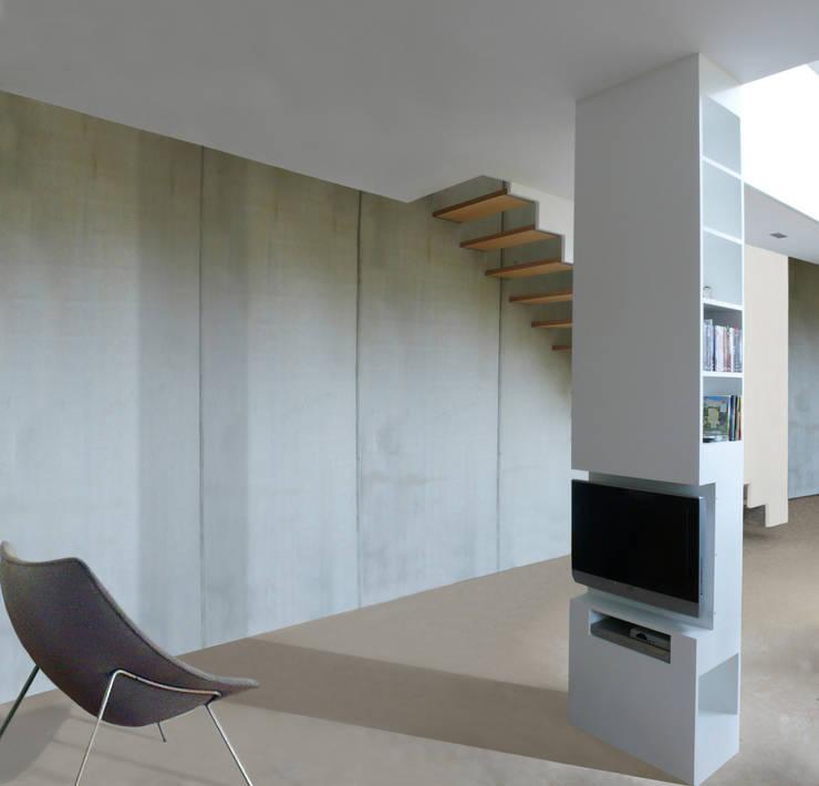 Haus mit Energiefassade:  Wohnzimmer von boehning_zalenga  koopX architekten