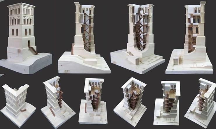 Maqueta de la torre en madera:  de estilo  de ADDEC arquitectos