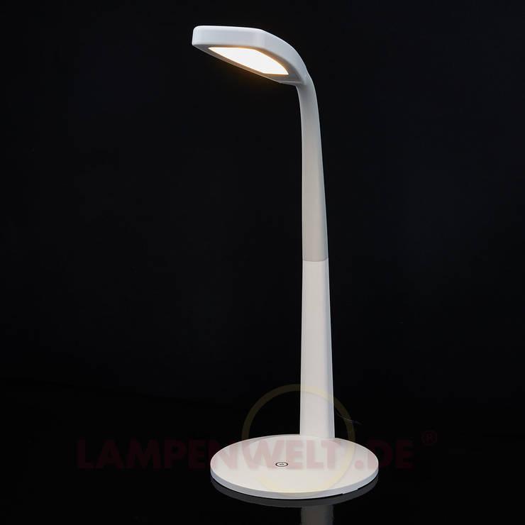 Romina - LED-Schreibtischleuchte in Weiß, dimmbar: moderne Arbeitszimmer von Lampenwelt.de