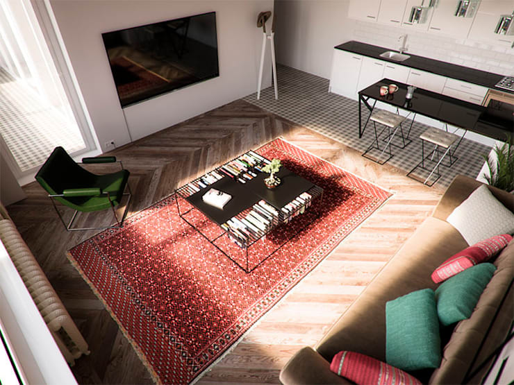 Den Haag apartment:  Living room by Haag Architects