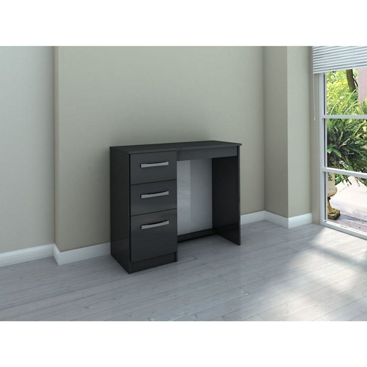 Bonsoni MDP Lynx 3 Drawer Dressing Table Black: country Corridor, hallway & stairs by Bonsoni.com