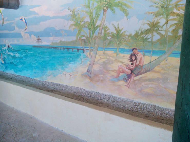 Finca <q>El Hamam</q>: Hogar de estilo  de mural x 3