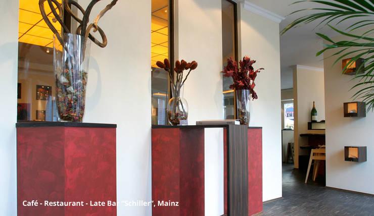 """Innenarchitektonische Neugestaltung Café-Restaurant-Late Bar """"Schiller"""" - Mainz:  Bürogebäude von GID│GOLDMANN-INTERIOR-DESIGN - Innenarchitekt in Sehnde,Modern"""